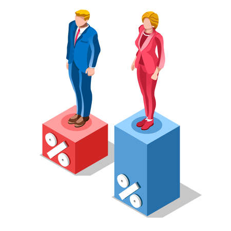 congress center: Election infographic.Debate party convention hall.Conference business meeting lecture.Congress theatre auditorium audience.Politic delegate competitors affiliates crowd rally.Vector isometric people