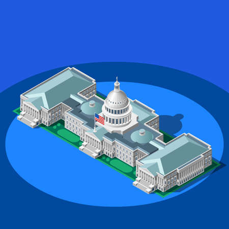 convention: Election infographic.Us Washington DC capitol dome presidential conference meeting.Party convention hall.3D flat isometric senate congress politic tribune theatre auditorium.Vector isometric building