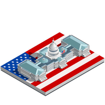 congress center: Election infographic.Us Washington DC capitol dome presidential conference meeting.Party convention hall.3D flat isometric senate congress politic tribune theatre auditorium.Vector isometric building