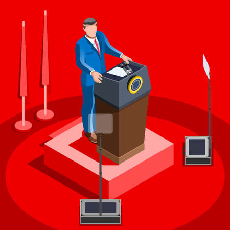 election debate: Election infographic.Debate party convention hall.Conference business meeting lecture.Congress theatre auditorium audience.Politic delegate competitors affiliates crowd rally.Vector isometric people
