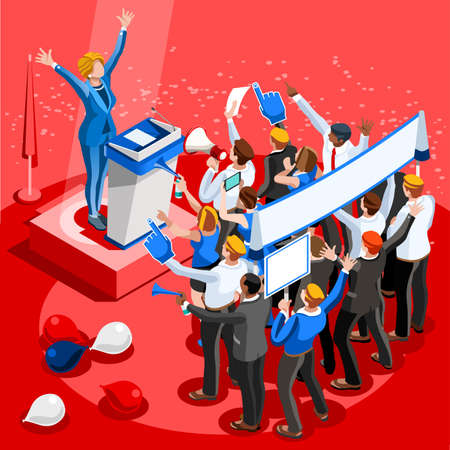 spokesperson: Election infographic.Debate party convention hall.Conference business meeting lecture.Congress theatre auditorium audience.Politic delegate competitors affiliates crowd rally.Vector isometric people