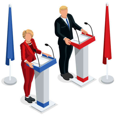 trump: Us Election infographic Democrat Republican debate live stream convention. US Presidential candidate symbol icon. Trump opponent. Congress stands. Flat vector isolated isometric banner Illustration