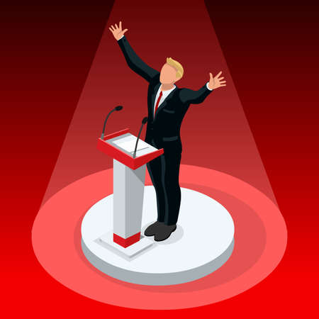 Republican candidate win infographic. Vote pools result.debate symbol isolated vector icon. Trump debate result flat isometric vector set Иллюстрация