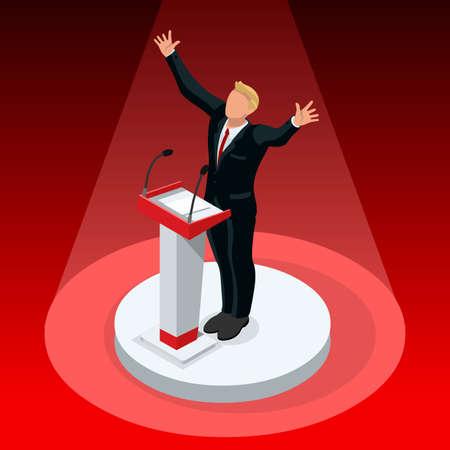 Us Election 2016 gagnant nouvelles. Républicain gagnant candidat infographique. pools de vote résultent. Usa symbole de débat présidentiel isolé vecteur icône. Trump résultat débat plat ensemble vecteur isométrique