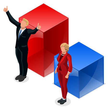 Us Election winner news. Republican candidates win infographic. Vote pools result. US Presidential debate symbol isolated vector icon. Trump debate result flat isometric vector set