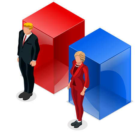 congress: Us Election infographic Democrat Republican debate live stream convention. US Presidential candidate symbol icon. Trump opponent. Congress stands. Flat vector isolated isometric banner Illustration