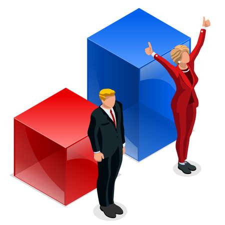 私たち選挙 2016年勝者ニュース。民主党候補の勝利インフォ グラフィック。プールの結果を投票します。アメリカ大統領候補討論会シンボル分離ベ