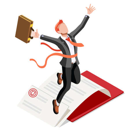 ambition: Business concept infographic vector design. Businessperson 3D character flat ambitious man. Job ambition changing role. Winning Startup group training goal setting and team management illustration Illustration