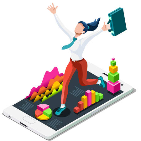 ambition: Business concept infographic vector design. Businessperson 3D character flat ambitious woman. Job ambition changing role. Winning Startup group training goal setting and team management illustration Illustration