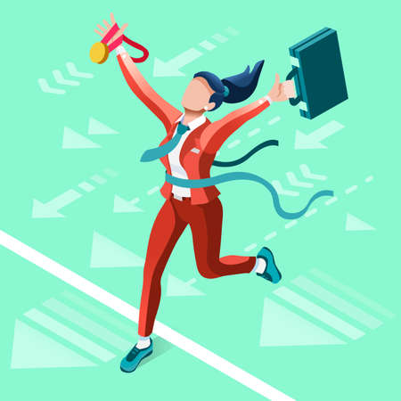 Business concept infographic vector design. Businessperson 3D character flat ambitious woman. Career ambition changing role. Winning Startup group training goal setting and team management illustration Illustration