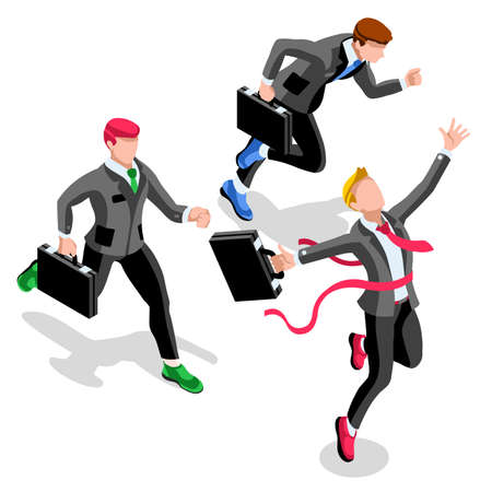 business roles: Business concept infographic vector design. Businessperson 3D character flat ambitious man. Career ambition changing role. Winning Startup group training goal setting and team management illustration