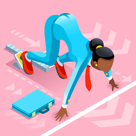 Business concept infographic vector design. Businessperson 3D character flat ambitious woman. Job ambition changing role. Winning Startup group training goal setting and team management illustration Illustration