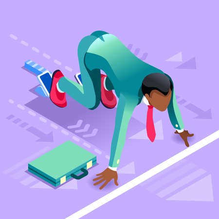 Business concept infographic vector design. Businessperson 3D character flat ambitious man. Job ambition changing role. Winning Startup group training goal setting and team management illustration Illustration