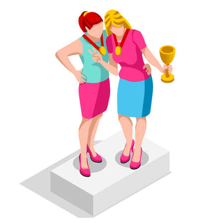 ambitious: Business concept infographic vector design. Businessperson 3D character flat ambitious woman. Career ambition changing role. Winning Startup group training goal setting and team management illustration Illustration
