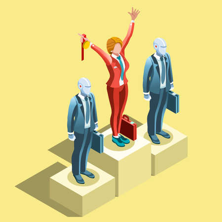 ambition: Business concept infographic vector design. Businessperson 3D character flat ambitious woman. Career ambition changing role. Winning Startup group training goal setting and team management illustration Illustration