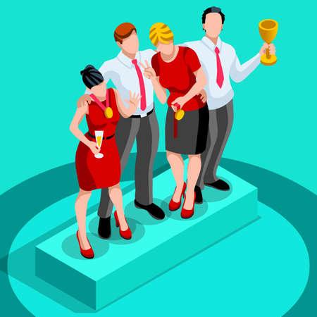 Concepto de negocio de diseño vectorial infografía. Empresario de personajes 3D hombre ambicioso plana. ambición laboral cambiante papel. la fijación de objetivos de formación ganadora grupo de inicio y la ilustración de la gestión de equipos Ilustración de vector
