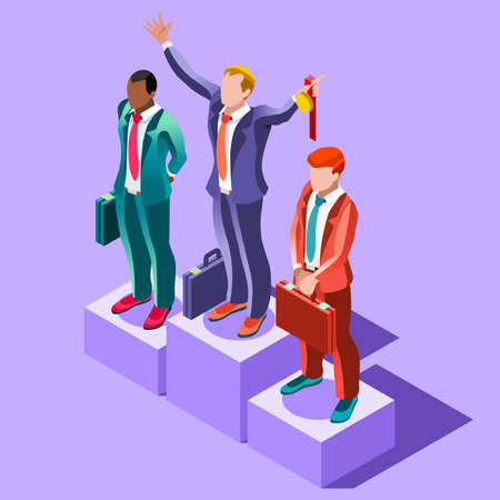 ambitious: Business concept infographic vector design. Businessperson 3D character flat ambitious man. Job ambition changing role. Winning Startup group training goal setting and team management illustration Illustration