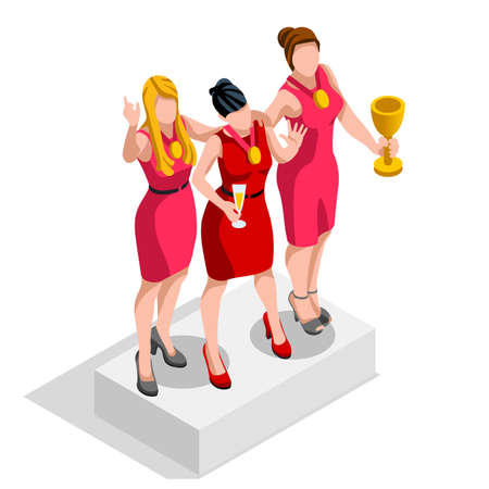 ambitious: Business concept infographic vector design. Businessperson 3D character flat ambitious woman. Job ambition changing role. Winning Startup group training goal setting and team management illustration Illustration