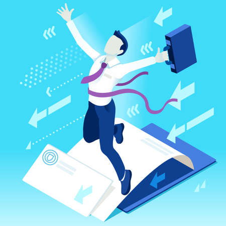 ambition: Business concept infographic vector design. Businessperson 3D character flat ambitious man. Career ambition changing role. Winning Startup group training goal setting and team management illustration