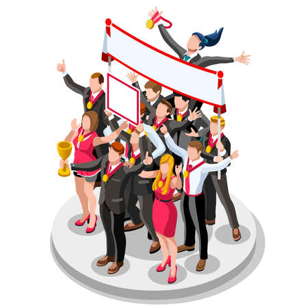 Business concept infographic vector design. Businessperson 3D character flat ambitious man. Job ambition changing role. Winning Startup group training goal setting and team management illustration
