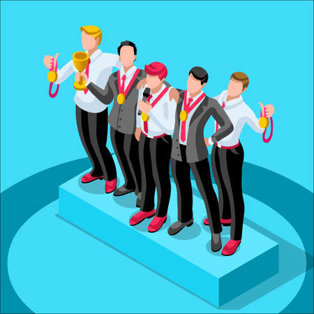 businessperson: Business concept infographic vector design. Businessperson 3D character flat ambitious man. Job ambition changing role. Winning Startup group training goal setting and team management illustration Illustration