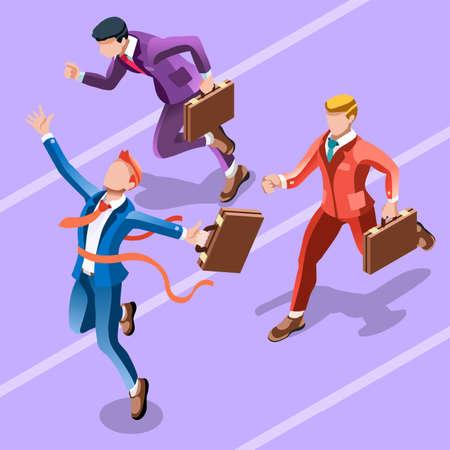 Business-Konzept Infografik Vektor-Design. Wirtschaftler 3D-Charakter flach ehrgeiziger Mann. Job Ambition wandelnde Rolle. Gewinnen Startup Gruppentraining Zielsetzung und Team-Management-Illustration Standard-Bild - 66680118