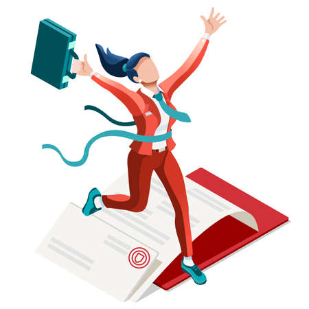 businessperson: Business concept infographic vector design. Businessperson 3D character flat ambitious woman. Career ambition changing role. Winning Startup group training goal setting and team management illustration Illustration