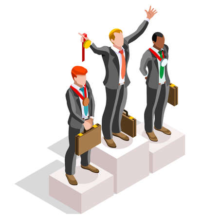 Business concept infographic vector design. Businessperson 3D character flat ambitious man. Career ambition changing role. Winning Startup group training goal setting and team management illustration