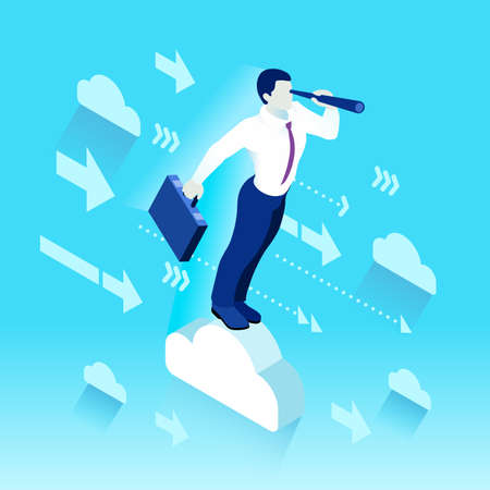 Business concept infographic vector ontwerp. Businessperson 3D karakter flat ambitieus man. Carrièreambitie veranderende rol. Winnende Startup groepstraining doelen en team management illustratie