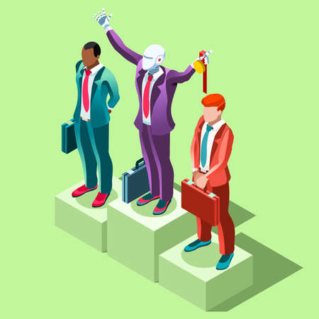 businessperson: Business concept infographic vector design. Businessperson 3D character flat ambitious man. Career ambition changing role. Winning Startup group training goal setting and team management illustration