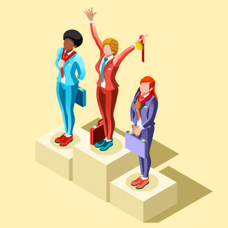 businessperson: Business concept infographic vector design. Businessperson 3D character flat ambitious woman. Job ambition changing role. Winning Startup group training goal setting and team management illustration Illustration