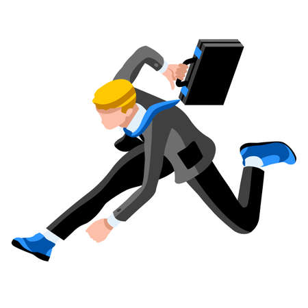 business roles: Business concept infographic vector design. Businessperson 3D character flat ambitious man. Job ambition changing role. Winning Startup group training goal setting and team management illustration Illustration