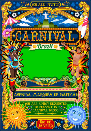 janeiro: Rio Carnaval festival poster illustration. Brazil night Show Carnival Party Parade masquerade invitation card template. Latin dance event with samba or salsa dancer theme. Carnival mask vector symbol