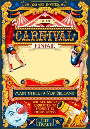 서커스 마술사 쇼 레트로 템플릿입니다. 만화 포스터 초대합니다. 아이 게임 생일 파티 통찰력. 카니발 축제 배경 저글링 곡예 캬바레 빈티지 벡터 배