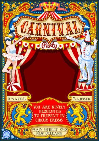 Circus Jongleur zeigen Retro-Vorlage. Cartoon-Plakat einladen. Kinder-Spiel-Geburtstags-Party Insight. Carnival Festival Hintergrund Jonglieren Acrobatic Cabaret Vintage-Vektor-Hintergrund. Acrobat Clown-Thema. Standard-Bild - 68501127
