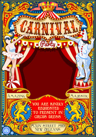Circus juggler show Retro Template. Cartoon Poster Invite. Kids game Birthday Party Insight. Carnival festival Background Juggling Acrobatic Cabaret Vintage vector background. Acrobat Clown theme. Reklamní fotografie - 68501127