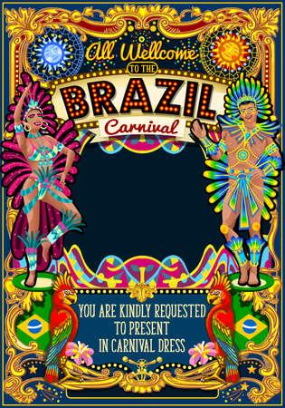 리오 카니발 축제 포스터 그림. 브라질 밤보기 카니발 파티 퍼레이드 초대 카드 템플릿을 위장. 삼바 또는 살사 댄서 테마 라틴 댄스 이벤트입니다. 카