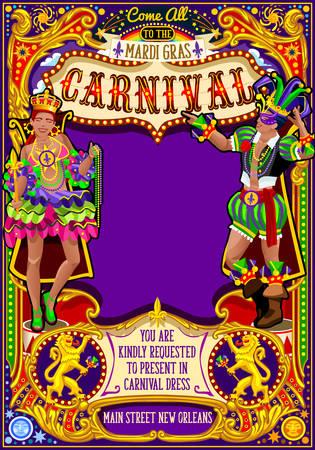 Illustration de l'affiche pour le festival Mardi Gras. Nouvelle-Orléans nuit Voir le modèle de carte d'invitation de mascarade Carnival Party Parade. Événement de danse latine sur le thème de la samba ou de la salsa. Vecteur de lys masque carnaval Banque d'images - 68501129