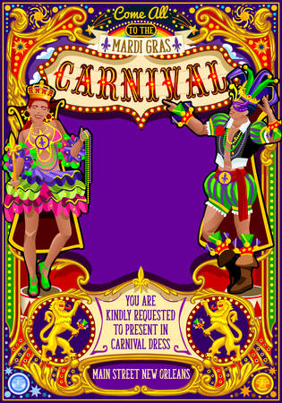Mardi Gras festival poster illustration. New Orleans night Show Carnival Party Parade masquerade invitation card template. Latin dance event with samba or salsa dancer theme. Carnival mask lily vector 版權商用圖片 - 68501129