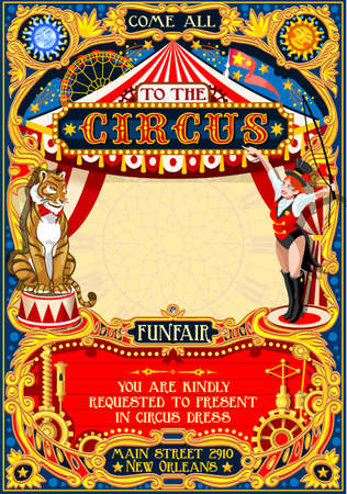 Circus animal trainer show Retro Template. Cartoon Poster Invite. Kids game Birthday Party Insight. Carnival festival Background Animal Lion Tiger Cabaret Vintage vector background. Animal Tamer theme.