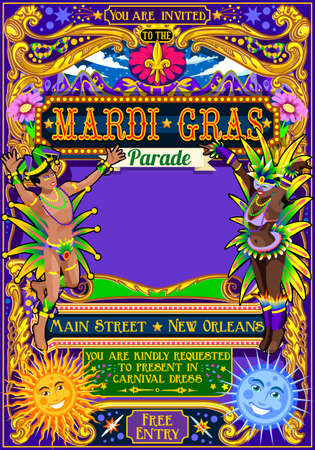 Mardi Gras festival poster illustratie. New Orleans 's nachts Show Carnaval Party Parade maskerade uitnodiging kaart sjabloon. Latin dance evenement met samba en salsa dancer thema. Carnaval masker lelie vector
