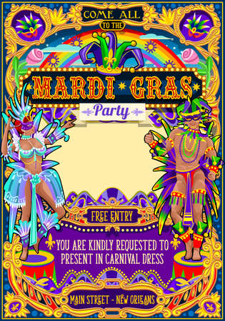 마디 그라 축제 포스터 그림입니다. 뉴 올리언스 밤 쇼 카니발 파티 퍼레이드 가장 무도회 초대 카드 템플릿입니다. 삼바 또는 살사 댄서 테마 라틴 댄