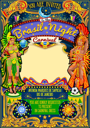 salsa dancer: Rio Carnaval festival poster illustration. Brazil night Show Carnival Party Parade masquerade invitation card template. Latin dance event with samba or salsa dancer theme. Carnival mask vector symbol