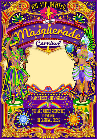 parades: Mardi Gras festival poster illustration. New Orleans night Show Carnival Party Parade masquerade invitation card template. Latin dance event with samba or salsa dancer theme. Carnival mask lily vector Illustration
