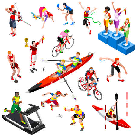 discus: Sport isometric set with sportsmen of ball olympic games competition athletics isolated podium vector illustration