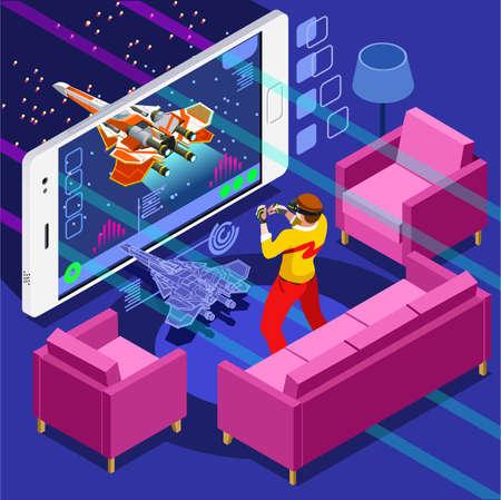Pantalla de videojuegos y persona jugador jugar en línea con el controlador de la consola androide del teléfono o computadora. 3D isométricos gente conjunto de iconos. El diseño creativo ilustración vectorial colección Foto de archivo - 70036020