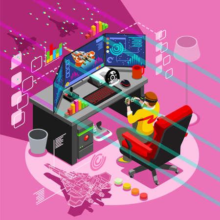 Ekran gier wideo i grająca gra online z kontrolerem konsoli android telefon lub komputer. Zestaw ikon osób izometrycznych 3D. Kreatywne projektowania ilustracji wektorowych kolekcji