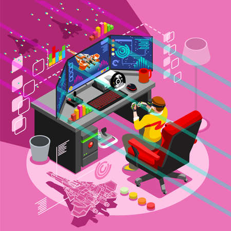 schermata di gioco video e persona gamer giocare online con il controller della console telefono Android o un computer. 3D isometrico icona persone serie. Design creativo illustrazione vettoriale collezione