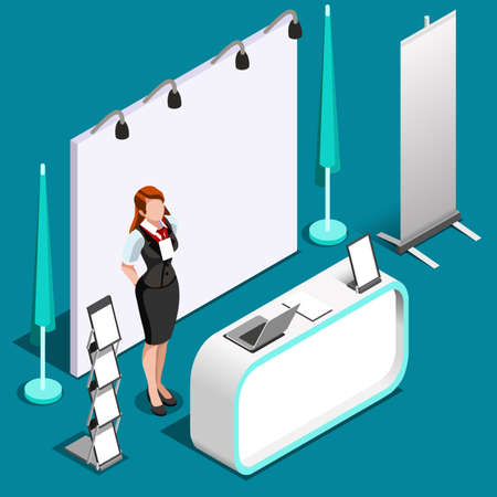 Exhibition booth stand desk roll up display panel. 3D Isometric People icon set. Creative design vector illustration collection