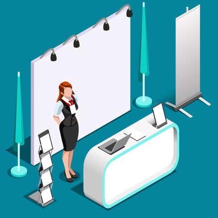 El stand de exposición stand stand roll up panel de visualización. Conjunto de icono de personas isométricas 3D. Diseño creativo ilustración vectorial colección Ilustración de vector